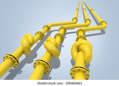 Gas pipes  tied in a knot. Concept of energy crisis.