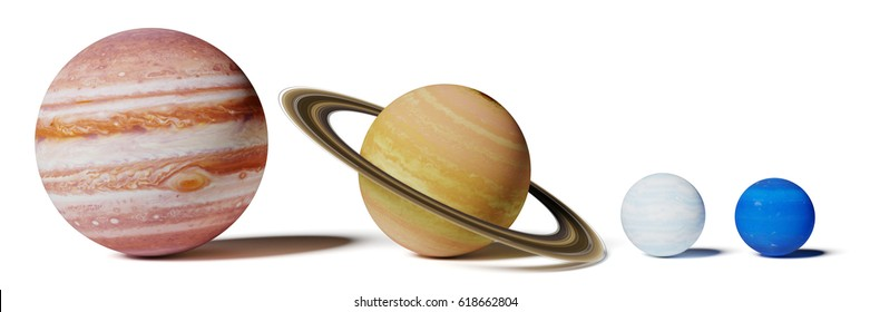 gas planets of the solar system, Jupiter, Saturn, Uranus and Neptune size comparison isolated on white background (3d illustration, elements of this image are furnished by NASA)