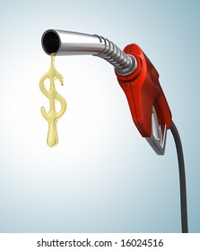 Gas Prices. Drop of gas in the format of the dollar sign.