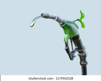 Gas pump nozzle with gasoline or biofuel drop and growing green sprout symbolising environmental friendliness, isolated. Ecological biofuel concept. 3D illustration
