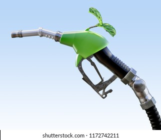 Gas pump nozzle with growing green sprout, isolated. Ecological biofuel concept. 3D illustration