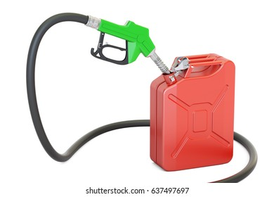 gas pump nozzle with jerrycan, 3D rendering isolated on white background