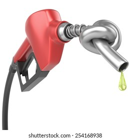 Gas pump nozzle with knot