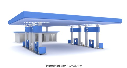 Gas station, 3d rendered image