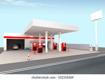 Gas station 3D rendering