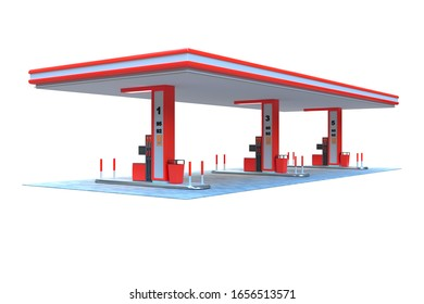 gas station canopy 3d render red view 5