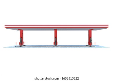 gas station canopy 3d render red view 6
