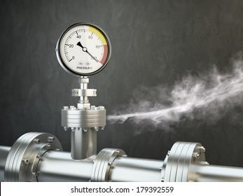 Gas or steam leaking from an industrial pressure gauge.