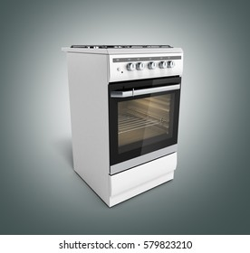 Gas stove 3d render on grey background