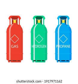 Gas tank ballon hydrogen and propane. Illustration gas balloon flammable, butane compressed in container tank, industrial dangerous liquefied
