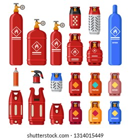 Gas tank. Gaz cylinders with acetylene, propane or butane. Petroleum fuel in safety cylinder. Helium, lpg or fuel oil in metal tank flammable container for stove heating isolated icons  set
