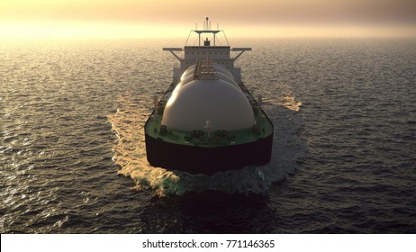 gas tanker floating in the ocean 3d illustration