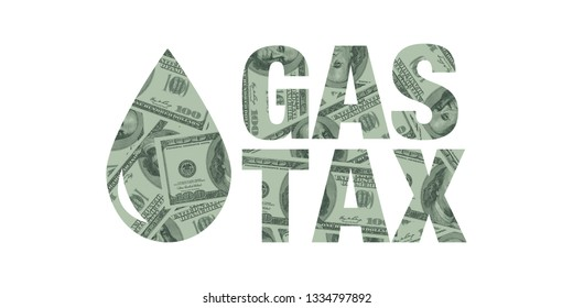 Gas Tax Increase with Drop of Fuel Concept, Hundred Dollar Bills