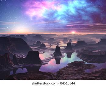 Gaseous Aurora over Mountainous Alien Landscape