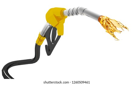 Gasoline gushing out from pump isolated on white background, fuel pump nozzle with drop oil d illustration isolated on a white background,