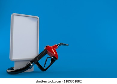 Gasoline nozzle with blank billboard isolated on blue background. 3d illustration