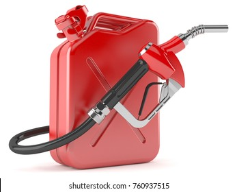 Gasoline nozzle with canister isolated on white background. 3d illustration