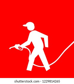 Gasoline pump full service sign with the white symbol of the petrol pump attendant holding a pump on a red background