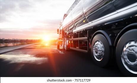 Tankschiff, Ölanhänger, Lastwagen auf der Autobahn. Sehr schnelles Fahren.3D-Darstellung.