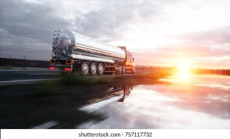 Tankschiff, Ölanhänger, Lastwagen auf der Autobahn. Sehr schnelles Fahren. 3D-Darstellung.