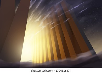 Gate of heaven concept religious bible imagery. 3d rendering illustration.