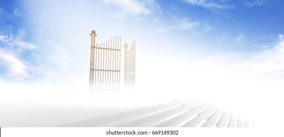 Gates of heaven above stairs in fog and under light with blue sky background - 3d rendering