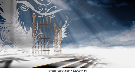 Gates of heaven concept wrapped in wings and ornaments over raised stair - 3d high resolution rendering.
