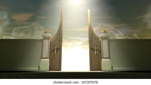 The gates to heaven opening under an ethereal light