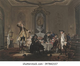 Gathering of friends at the home of Biberius, by Sara and Cornelis Troost, 1769, Dutch watercolor painting