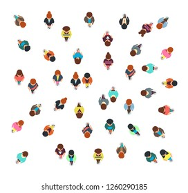 Gathering people group top view, walking men and women, social crowd illustration isolated