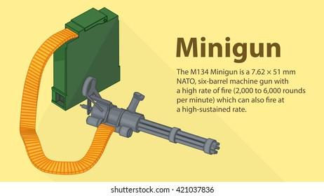 Gatling minigun isometric flat 3d illustration. Isolated 3d illustration of gatling or chain gun. Gatlign gun cannon