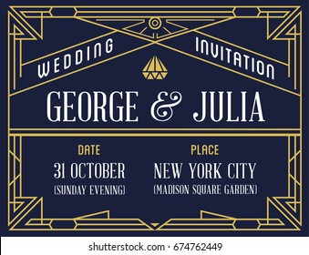 Gatsby Style Invitation in Art Deco or Nouveau Epoch 1920's Gangster Era Raster