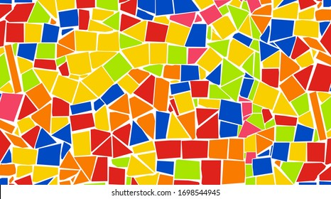 Gaudi style Broken tiles colorful mosaic background. Very large size pattern design for banner, poster, card, postcard, cover, business card.