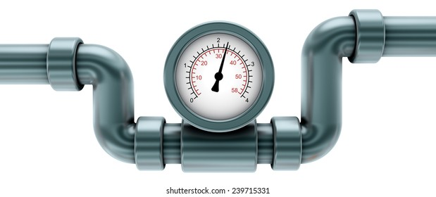 gauge on pipe, isolated on white 3d render