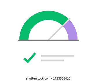 Gauge score meter vector icon or scale dial performance speedometer with approved good checkmark flat symbol, concept of credit scoring measure level indicator or pressure progress power image