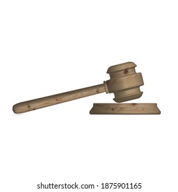 Gavel icon, isolated wooden hammer of judge and stand. Front view, 3D illustration.