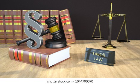 Gavel, paragraph, books and scale with text labor law on the wooden tabel. 3d illustration.