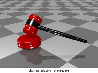 Gavel with reflection in the ground in closeup. 3d rendering