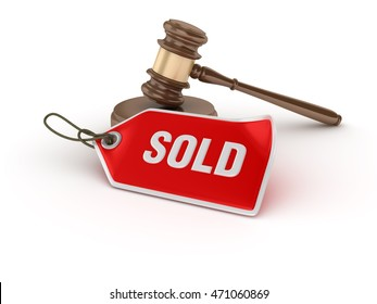Gavel with Sold Tag on White Background - High Quality 3D Rendering