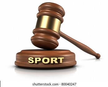 """Gavel and """"SPORT"""" word writing on sound block."""