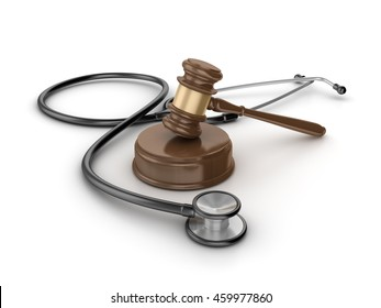 Gavel with Stethoscope on White Background - High Quality 3D Rendering / Illustration