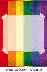 Gay background frame. A poster with a rainbow in the background
