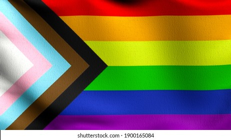 Gay flag, LGBT, or rainbow flag. Pride symbol blowing in the wind isolated. Official patriotic abstract design. 3D rendering illustration of waving sign symbol.