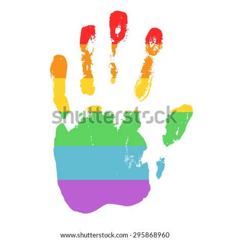 Gay And Lgbt Support Symbol Rainbow Handprint Isolated On White Background Real Texture Of