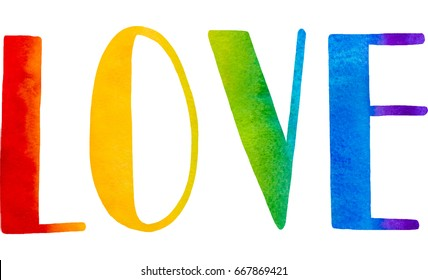 Gay LOVE PRIDE slogan with hand written lettering on a rainbow spectrum flag background. Poster, placard, t shirt print , watercolor design
