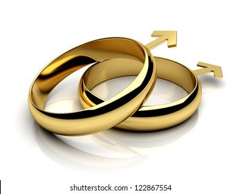 Gay male wedding rings  on a white reflective isolated background. 3D render.