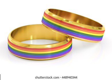 Gay Marriage Concept with Rainbow Rings, 3D rendering