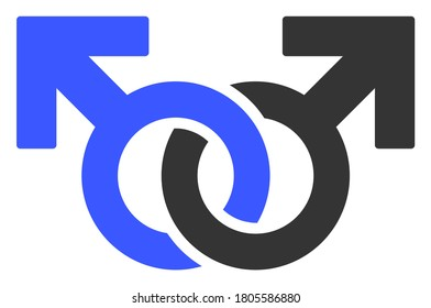 Gay Pair Symbol raster illustration. A flat illustration iconic design of Gay Pair Symbol on a white background.