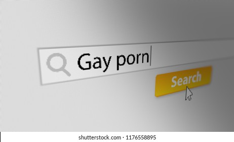 """""""Gay porn"""" Typing into Search Engine and Clicking on Search Button. Internet Search Engine Screen Close-Up. 3D illustration."""