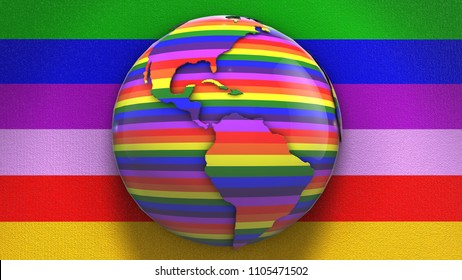 Gay Pride Earth LGBT Mardi Gras graphic 3D render. The letters LGBT & LGBTQIA refer to lesbian, gay, bisexual, transgender, queer or questioning, intersex, and asexual or allied.